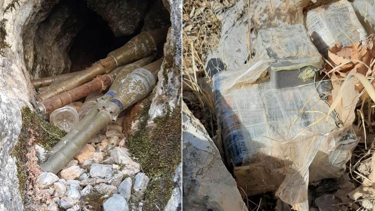 Hakkari'de PKK'ya ait el yapımı patlayıcı ve roketatar mühimmatı imha edildi