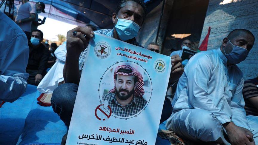 Açlık grevindeki Filistinli tutuklu için Gazze'de destek gösterisi