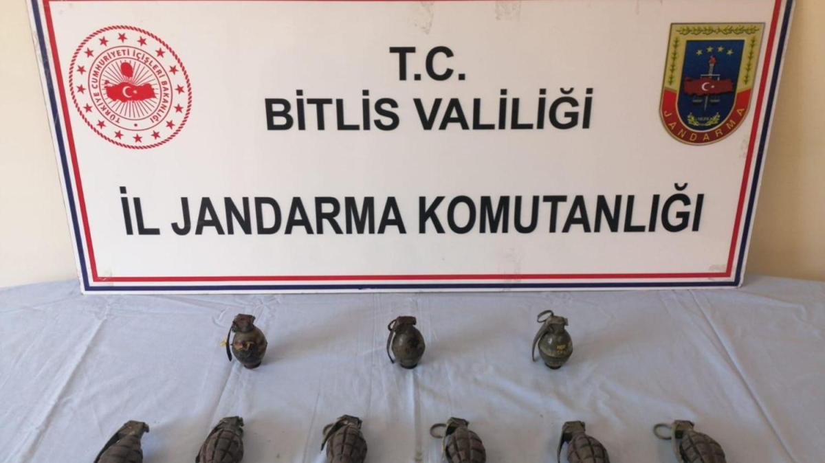 Bitlis'te PKK'ya ait 9 adet el bombası ele geçirildi
