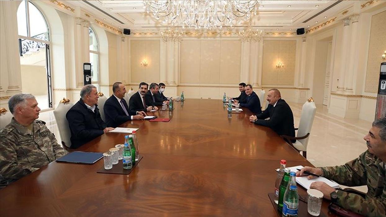 Bakan Çavuşoğlu ve Akar, Azerbaycan Cumhurbaşkanı Aliyev'le görüştü