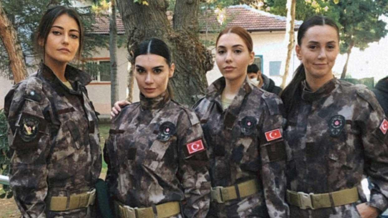 Burcu Kıratlı, Tuğba Melis Türk ve Elif Buse Doğan üniformayla sete çıktı