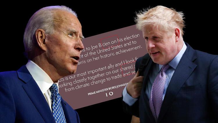 Johnson'den Biden'e ilginç tebrik mesajı