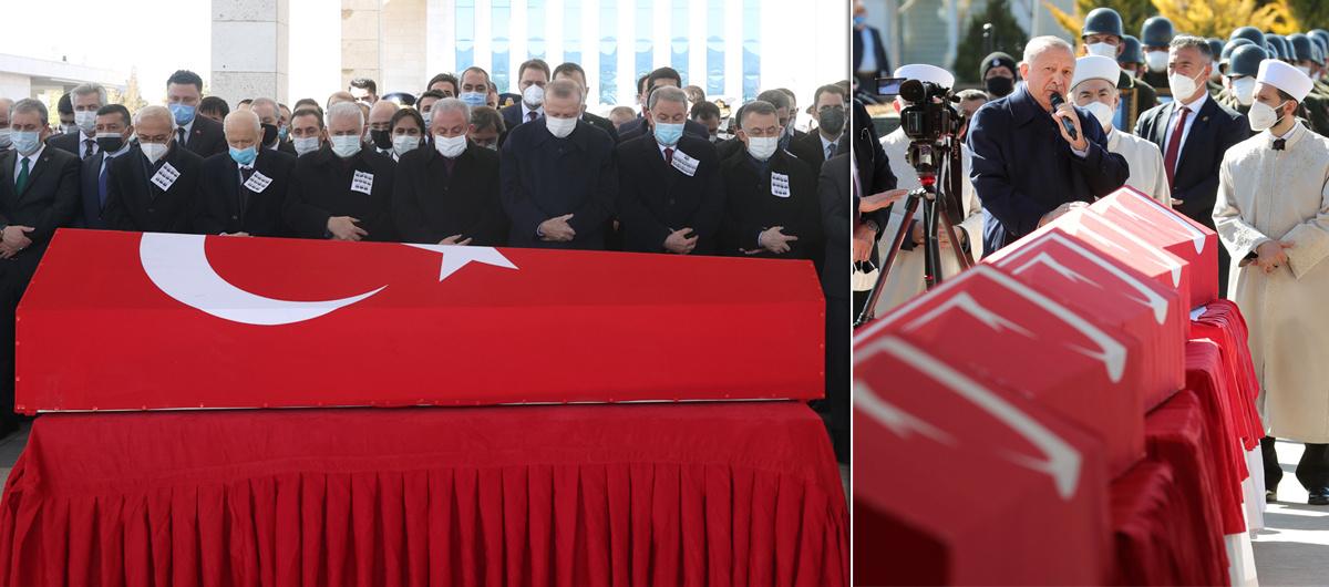 Şehitlerimize dualarla veda... Törene Başkan Erdoğan da katıldı