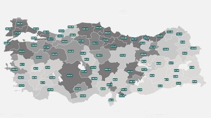 Koronavirüste illere göre vaka haritası güncellendi