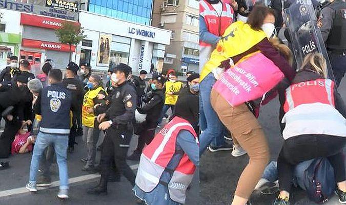 Kısıtlamaya rağmen Taksim'e yürümek isteyen grup gözaltında