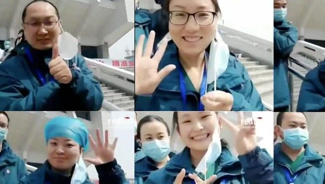 Çinli doktorlar son geçiçi hastanenin kapatılmasını kutladı