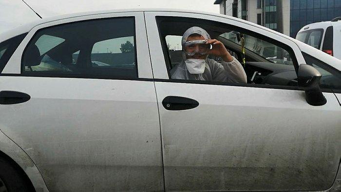 İstanbul'da otomobilde bile koronavirüs önlemi!