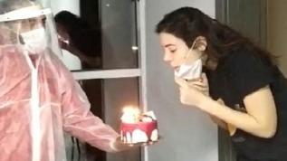 Uşak'ta karantina misafirlerine doğum günü sürprizi