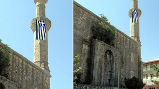 Yunan'dan alçak provokasyon! Tarihi caminin minaresine Yunanistan bayrağı astılar