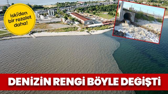 İSKİ tesisinden bırakılan su denizin rengini değiştirdi!İstanbullular isyan etti